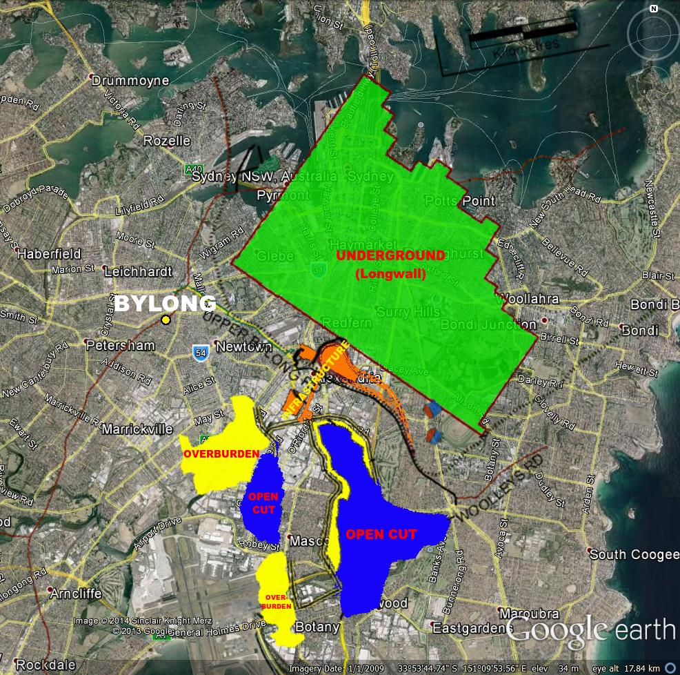 KEPCO Bylong conceptual mine plan, overlaid on Sydney